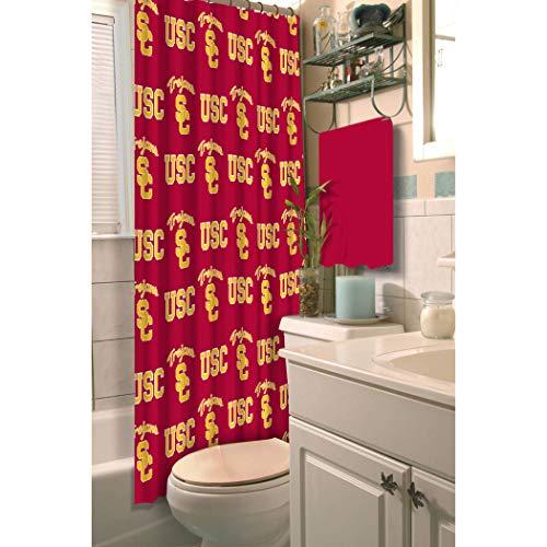 TN 1 Piece Red Gold Trojans Shower Curtain 72x72 Inch, Football Themed Bathroom Decoration Team Logo Fan Merchandise Athletic Team Spirit Fan Bath Decor, Decorative Bath Collection Polyester