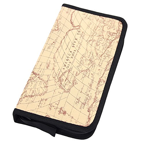 Mochiglory EVA World Map Pattern CD/DVD Bag 40/80 Discs Storage Carry Case Holder Wallet Carry Organizer