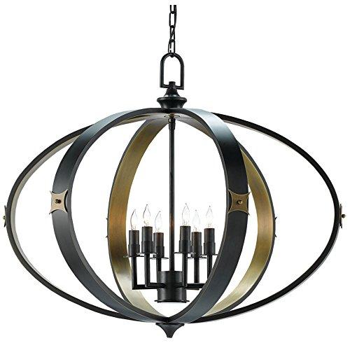 Currey and Company 9000-0169 Huntsman - Six Light Chandelier, Satin Black/Antique Brass Finish