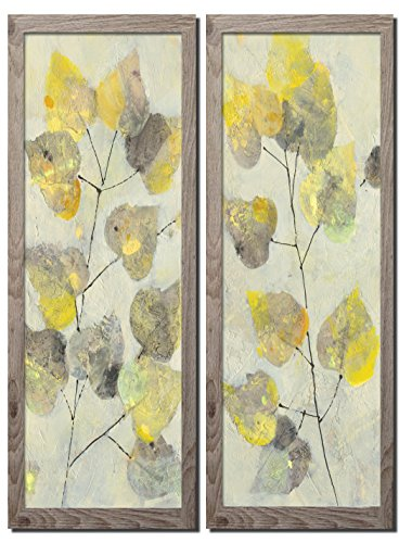 - Gango Home Décor Beautiful Abstract Aspen Branch Grey and Yellow Leaf Panel Set by Albena Hristova; Two Distressed Framed 8x18in Prints; Ready to Hang!