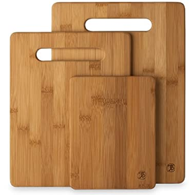 Totally Bamboo 3 Piece Bamboo Cutting Board Set, For Meat & Veggie Prep, Serve Bread, Crackers & Cheese, Cocktail Bar Board, Set of 3
