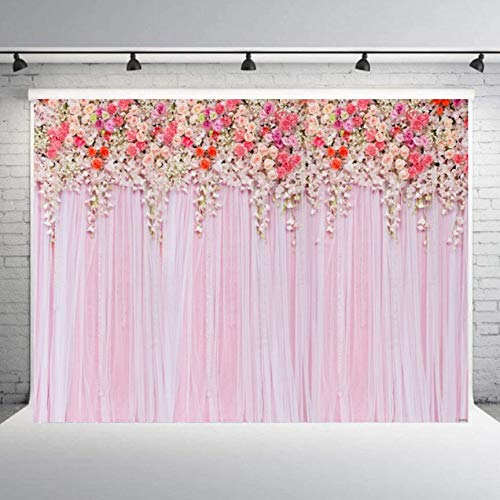 5x7ft Rose Flowers Background Pink Flower Vine Curtain Background Photography Backdrop Professional Photographer Props Studio Photo Props Background for Booth, Party, -