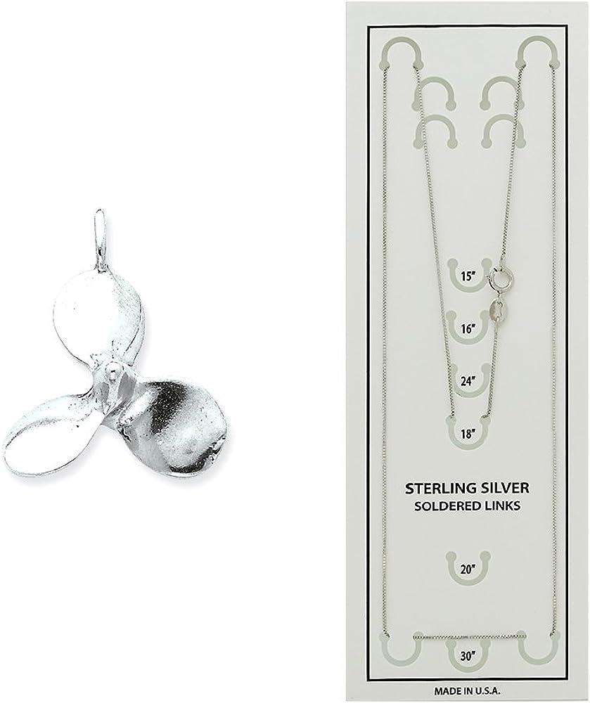 LavaFashion Sterling Silver 3D Antiqued Large Boat Propeller Charm Necklace 18