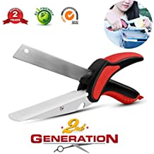 Clever Cutter Food Chopper 2-in-1 Kitchen Built-in Cutting Board Effortless Detachable Knife and Fork for BBQ Meat Vegetable Scissors