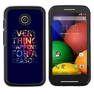Caucho caso de Shell duro de la cubierta de accesorios de protección BY RAYDREAMMM - Motorola Moto E - Todo sucede Razón Cita Vida