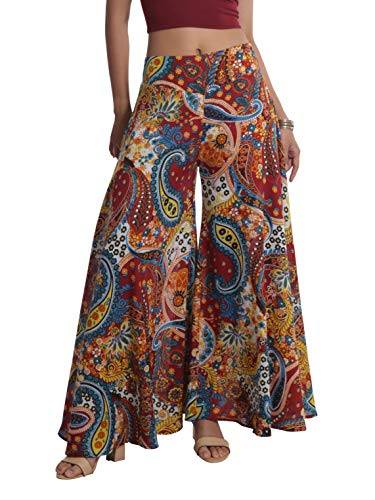 (Tropic Bliss Women's Wide-Leg Cotton Palazzo Pants Red and Blue Paisley M)