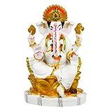 Fabzone Marble Lord Ganesha Idol God Ganpati/Ganesh Handicraft Statue Spiritual Puja Vastu Pooja Gift Item-24 cm (White Gold)