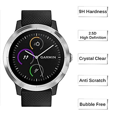 [10+2 Pack] Compatible Garmin vivoactive 3 Screen Protector Tempered Glass with Charger Port Protector, Silicone Anti-dust Plug + Waterproof Screen Protective Film for Garmin vivoactive 3