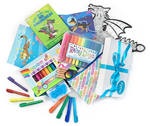 Ooly Little Wonder Coloring Gift Set for Boys 5-7: Deluxe 3D Colorables Fantastic Dragon, Ice Cream Scented Markers, Gel Crayons, Multi Colored Pencils & 2 Doodle Pad Sketchbooks