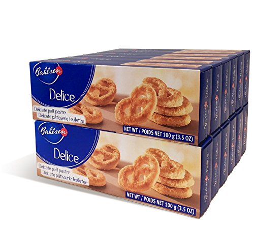 Bahlsen Delice Cookies (12 boxes) - Sweet & delicate, buttery puff pastry twists with light crispy layers - 3.5 oz boxes