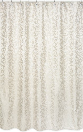 Sweet Jojo Designs Champagne And Ivory Victoria Kids Bathroom Fabric Bath Shower Curtain