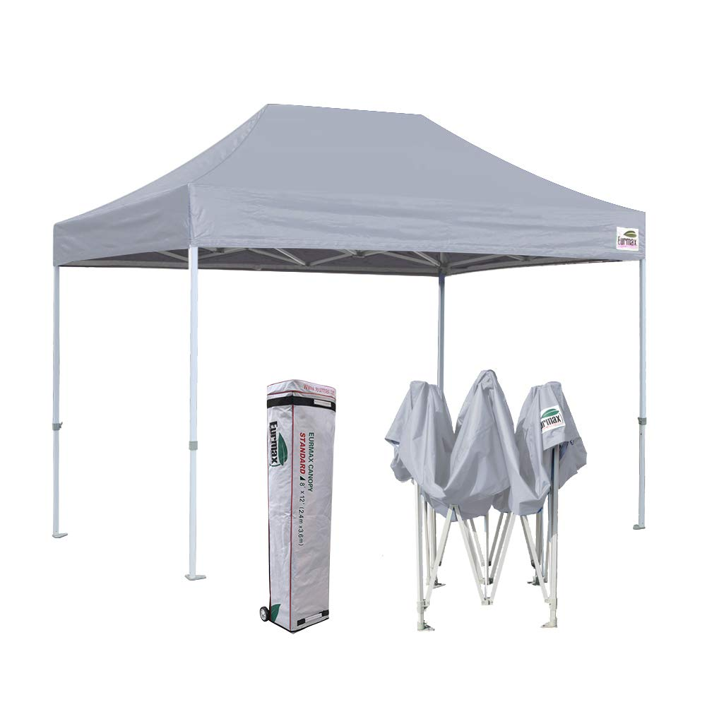 Eurmax 8 x 12 Ez Pop Up Canopy Party Tent Commercial Level Deluxe Wheeled Storage Bag Grey