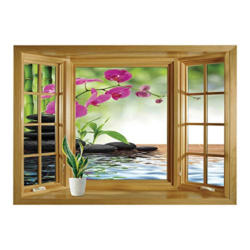 Wall Sticker,Window Looking Out Into/Spa Decor,Composition Bamboo Tree Floor Mat Orchid Stones Wellbeing Greenery,/Wall Sticker Mural