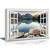 wall26 - Creative Window View Canvas Prints Wall Art - Peaceful Lake in Autumn - 24'' x 36''
