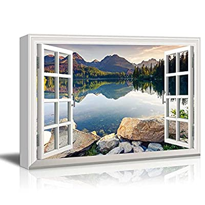 Creative Window View Peaceful Lake in Autumn - Canvas Art