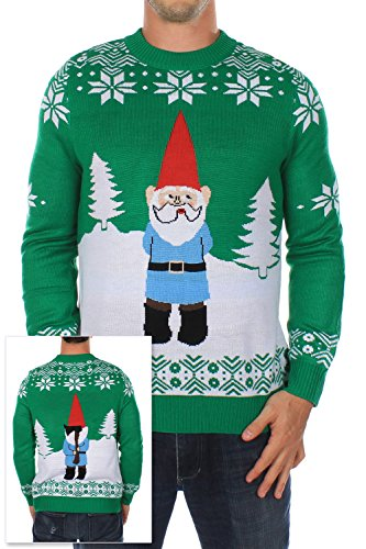Men's Ugly Christmas Sweater - The Suspicious Gnome Sweater Green Size M