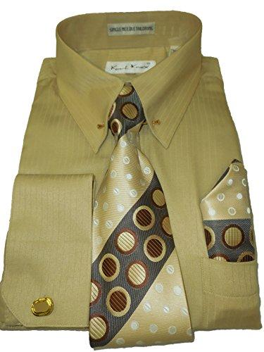 (Karl Knox SX4367 Mens Tan Beige Pinned Collar Striped French Cuff Dress Shirt (M 15.5 collar 34/35 sleeve))