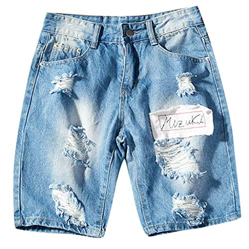 Jeans Shorts Casual Denim Shorts Classic Fit Ripped Distressed Summer Casual Shorts Jeans Sports Pocket Slim Fit Pants Straight Trousers Men's (4XL,7- Blue)