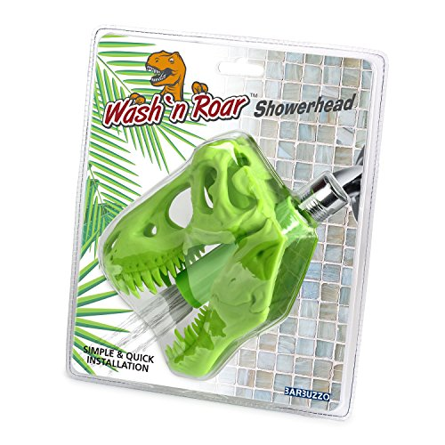 Barbuzzo T-Rex Shower Head, Green - Prehistoric Shower Nozzle Shaped like a Tyrannosaurus Rex Skull - Gives Your Shower-Time a Jurassic Touch - Terrific Gift for Kids & Dino-Enthusiasts - Wash N' Roar by Barbuzzo (Image #9)
