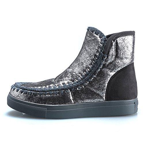 MForshop boots winter pelliccia scarponi DONNA STIVALETTI STIVALI laminati SCARPE Grigio Y1729 UwqYUrOS