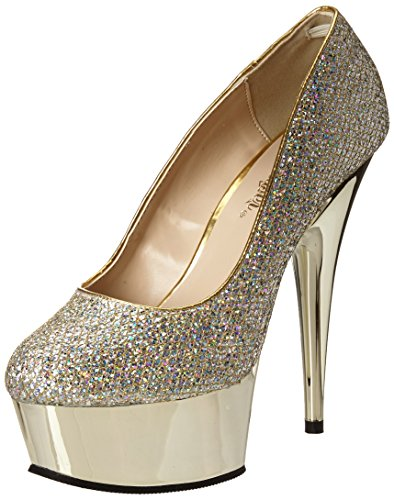 gold Mujer Gold Chrome Delight Pleaser Gltr 685g Tacones Multi 0p7nAxq