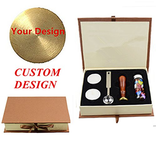 MNYR Custom Logo Picture Letters Monogram Sealing Wood Handle Wax Seal Stamp Melting Spoon Colorful Bottled Wax Beads Hard Paper Gift Box Set Kit