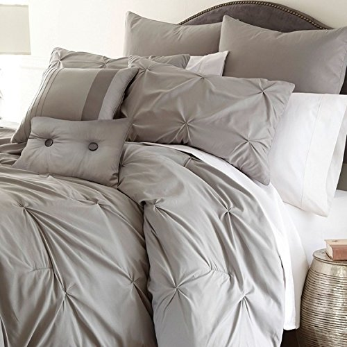 8 Piece Traditional French Country Inspired Comforter Set King Size, Featuring Pleated Stars Button Lightweight Solid Patterned Warmth Bedding, Stylish Shabby Chic Bedroom Decoration, Brown, Grey by SE
