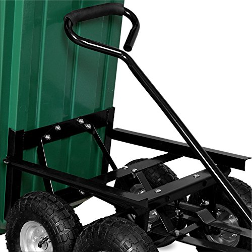 Chariot de jardin avec fonction dinclinaison essieu directeur et pneumatiques Deuba Brouette verte