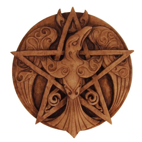 (Crescent Raven Pentacle Wall Plaque Wood Finish )