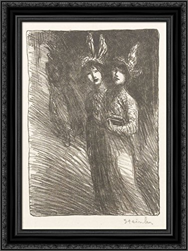 Woman Lithograph - Two Women Lithograph 24x18 Black Ornate Wood Framed Canvas Art by Theophile Steinlen