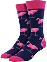 Socksmith Men's Pink Flamingo Trouser Socks, Navy