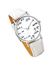 Lancardo Student Boys Girls Watch With Math Equations Dail Plate Leather Band (White, 2PCS)