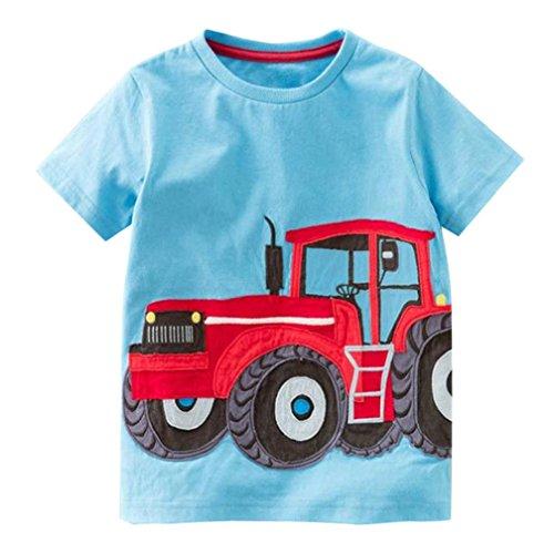 Hot Sale!Kstare Baby Boys' Short Sleeve Cartoon Pattern Casual T-Shirt Tops Tee (3T-4T, Blue) (Cartoon Casual Pattern)