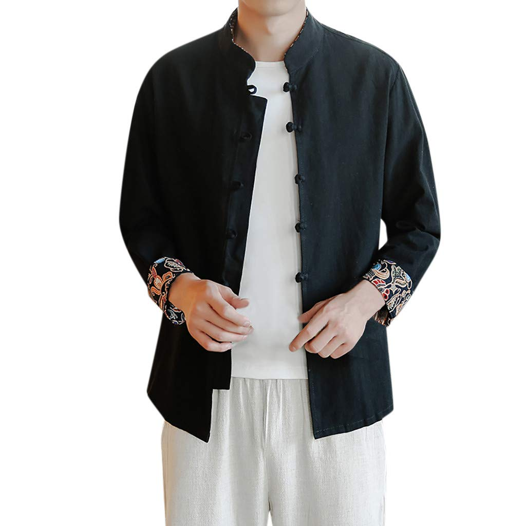 YAYUMI Chinese Style Mens Cotton-Linen Long Sleeves Tops in Spring and Summer
