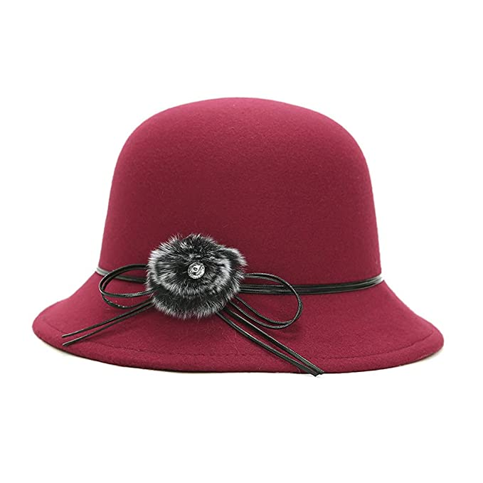 61ac942ed21 ChenXi Store Womens Vintage Wool Felt Cloche Bucket Bowler Hat Winter  Crushable at Amazon Women s Clothing store