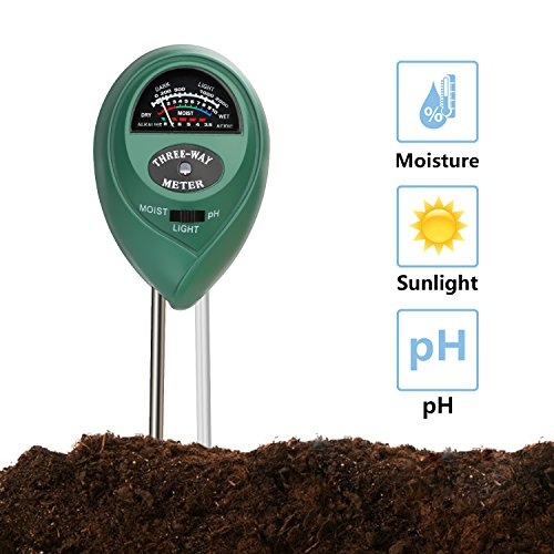 Jellas Soil pH Meter, 3-in-1 Moisture Sensor Meter/Light/pH Soil Test Kits Test Plant Moisture Meter for Garden, Farm, Lawn, Indoor & Outdoor Use (Green)
