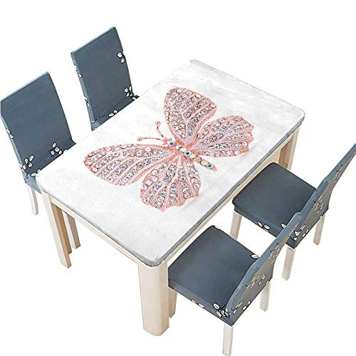 PINAFORE 100% Polyester Luxury Tablecloth Brooch in The Shape of a Butterfly on a White Background Resistant and Waterproof Tablecloths W45 x L84.5 INCH (Elastic Edge)