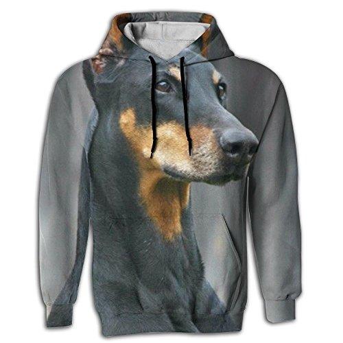Mens 2018 Novelty German Doberman Pinscher Hoodie 3d Custom Sweatshirts (Pinscher Adult Sweatshirt Hoody)