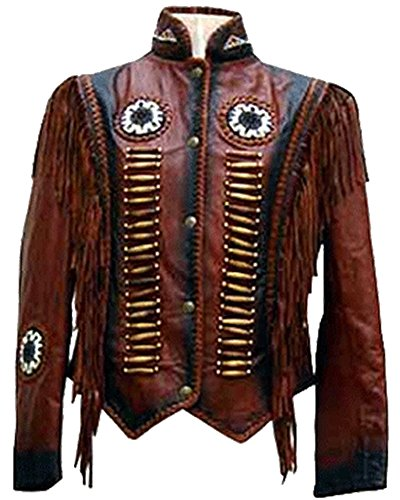 Classyak Women's Cowgirl Boned, beaded and Fringed Coat Real Leather Brown 5X-Large (Beaded Coat)