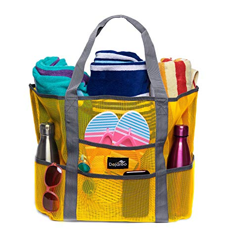 Medium Market Bag - Dejaroo Mesh Beach Bag - Toy Tote Bag - Large Lightweight Market, Grocery & Picnic Tote with Oversized Pockets (Yellow with Grey Handles)