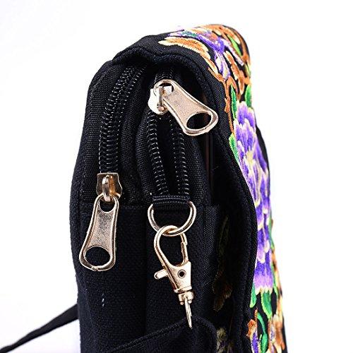 Shoulder Cellphone Embroidered Canvas Purse Bag Mini Jiyaru Purple Women Crossbody Peony Pouch AZnx8qpf4w