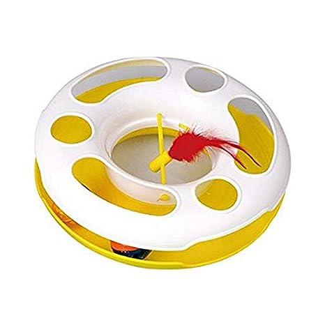 Juguete para gatos Nobleza, rueda amarilla con pelotas en el interior y pluma, largo