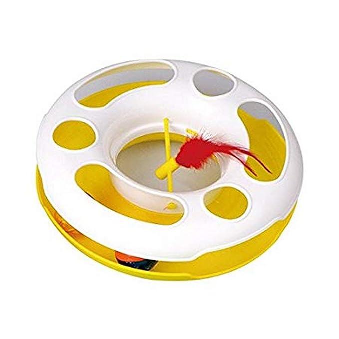 Juguete para gatos Nobleza, rueda amarilla con pelotas en el interior y pluma, largo 24,2 cm: Amazon.es: Hogar