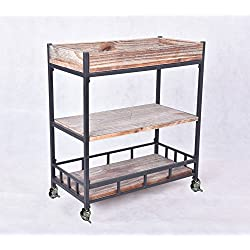 Diwhy Industrial Urban Wood Metal Wheels Storage Wine Beverage Rolling Wine Cart