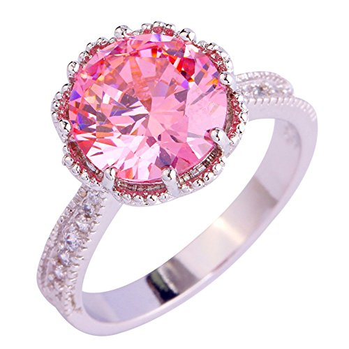 Psiroy 925 Sterling Silver Fashion Girl's Round Cut Pink Topaz Filled Ring (Gold Twin Octagon Ring)
