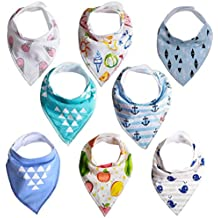 YASSUN 8-Pack Baby Bibs for Baby Bandana Drool Bibs Drooling and Teething, 100% Organic Cotton and Super Absorbent Hypoallergenic, Unisex Bib