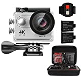 AEDILYS 4K WIFI Sports Action Camera Ultra HD Waterproof DV Camcorder 12MP 170 Degree Wide Angle 2 inch LCD Screen / 2.4G Remote Control with 2 Batteries-White