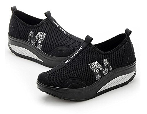 Shoes Swing Luxury Black Walking Healthy Lose Breathable Weight Platform Rocking Shoes Fitness Woman wwORqgPz