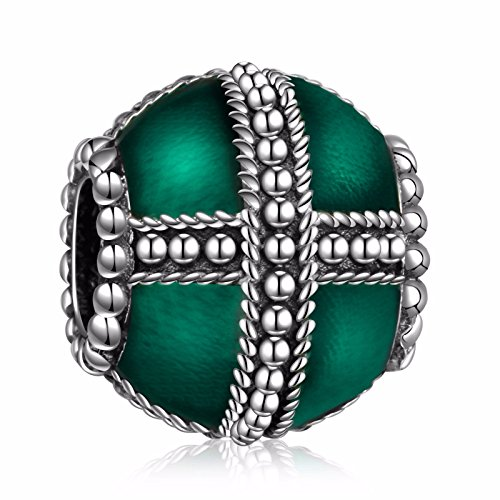 HQCROW 925 Sterling Silver Enamel Cross Vintage Charms Bead Fit European Snake Chain ()