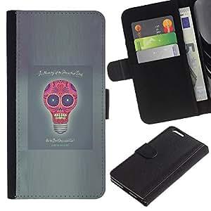 A-type (Idea Luz Poster divertido del cráneo del bulbo gris) Colorida Impresión Funda Cuero Monedero Caja Bolsa Cubierta Caja Piel Card Slots Para Apple (5.5 inches!!!) iPhone 6+ Plus / 6S+ Plus